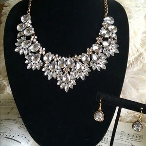 Crystal Statement Flower Necklace Earring Set